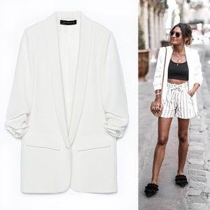 White Zara Women Crepe Blazer Jacket